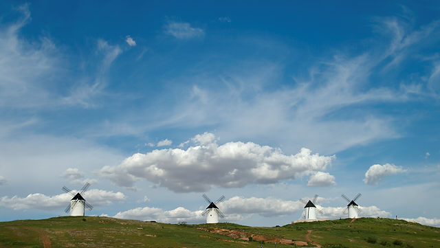 das war vermutlich die Stelle, wo Quixote mit den Windmühlen gekämpft hat ~ vier auf einen Streich!