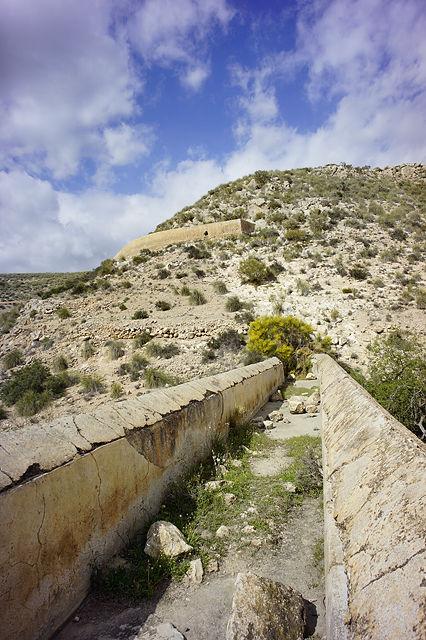 weiter abwärts ~ die Büsche gehören zum Tunnel, von der Mauer oben geht das Fallrohr ab