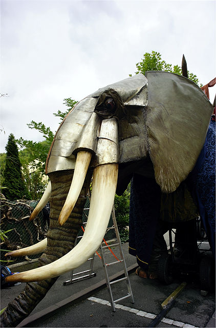 gepanzerter Kampfelefant in Warteposition