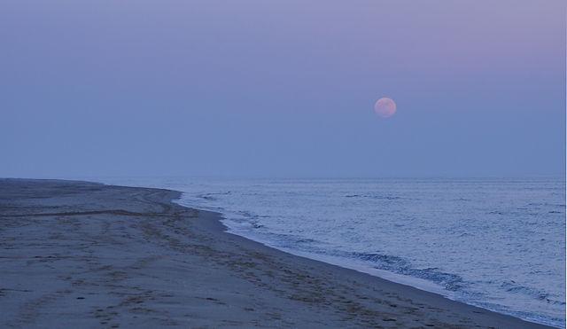gleichzeitig Mondaufgang im Dunst über dem Meer ~ Mann, ist der voll, Mann!
