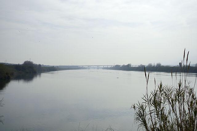 Ebro, flußabwärts mit Infrastrucktur (Autobahnbrücke der AP7)