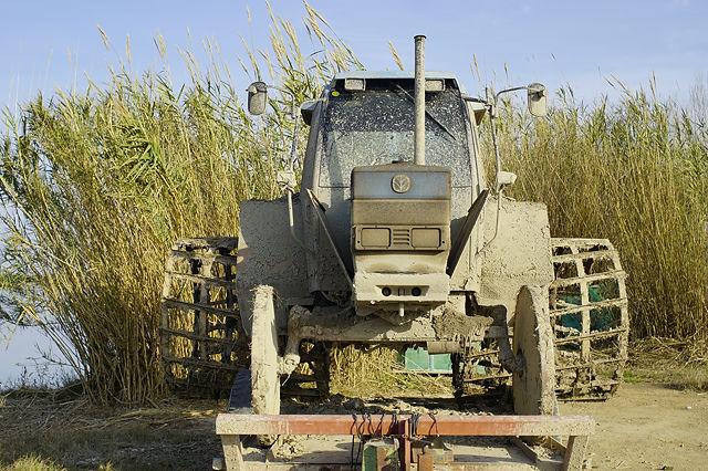 von vorn: Traktor zur Vorbereitung der Reisfelder