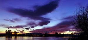 * Abendhimmel über der Brücke zwischen Deltebre und St.Jaume *