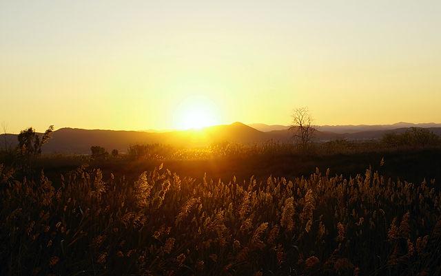 Montañas von unten, Sonnenuntergang