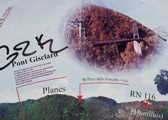 Pont Gisclard, Hinweistafel
