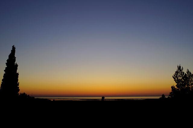 stattdessen großer Ausblick ~ vor Sonnenaufgang