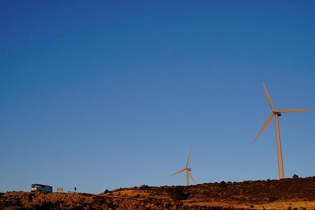 Windkraftmaschinen errötet im Sonnenuntergang