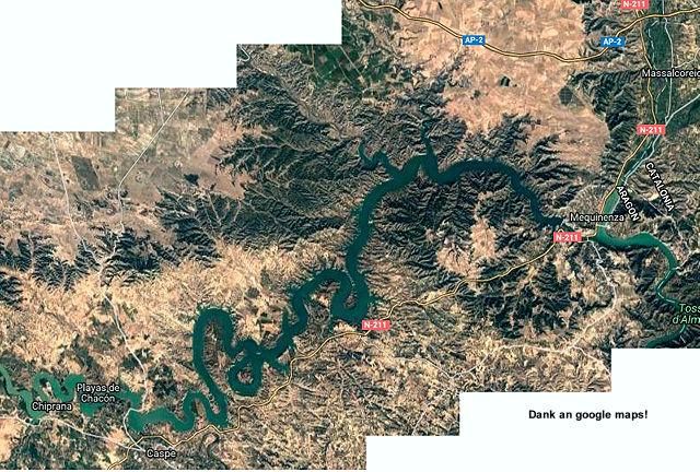 Luftbild der Embalse de Mequinenza ~ Dank an Google Maps!