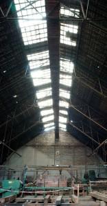 Zeppelinhalle, Blick ins Dach ~ Oberlichter