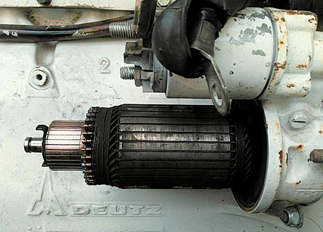 geöffneter Anlasser am Deutz F6L912 ~ Rotor