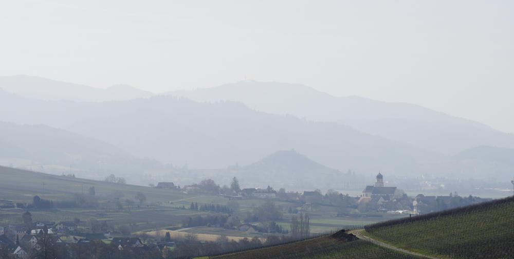 Blick vom Batzenberg über Ehrenkirchen zum Burgberg von Staufen und dem Blauen