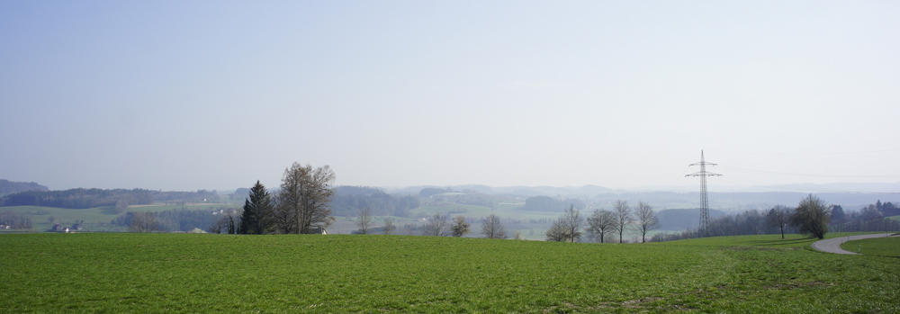 Blick in Richtung Bodensee ~ hier nicht einmal zu ahnen hinter dem Dunst ~ die Alpen