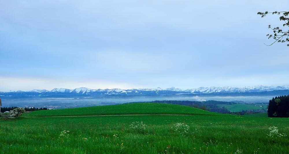 in der Ferne die Alpen als Strich am Horizont . . .