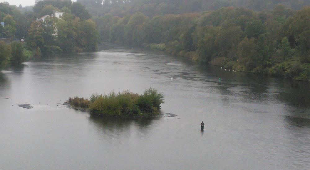 die Wasser über und unter dem Spiegel der Ruhr ~ tapferer Angler mitten in der Ruhr im Regen
