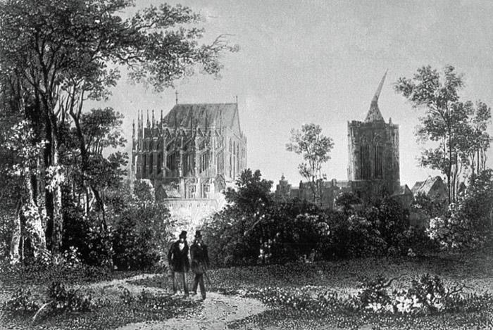 Botanischer Garten und Dom, Stahlstich um 1820 von Henry Winkles nach einer Zeichnung von Theodor Verhas