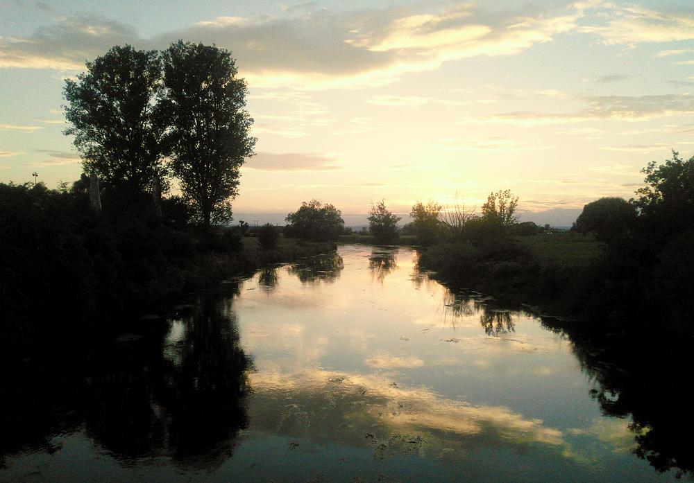 Abenddämmerung an der Donau bei Gutmadingen