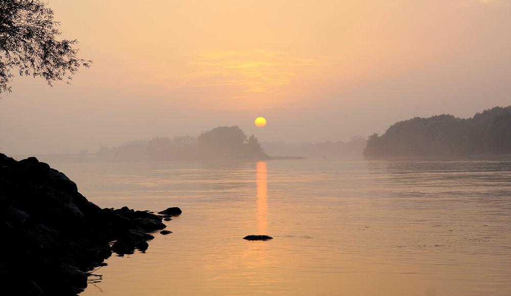 Sonnenuntergang über der diesigen Donau