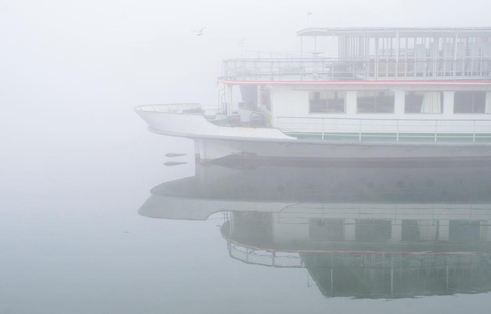 Nebel im Hafen von Linz