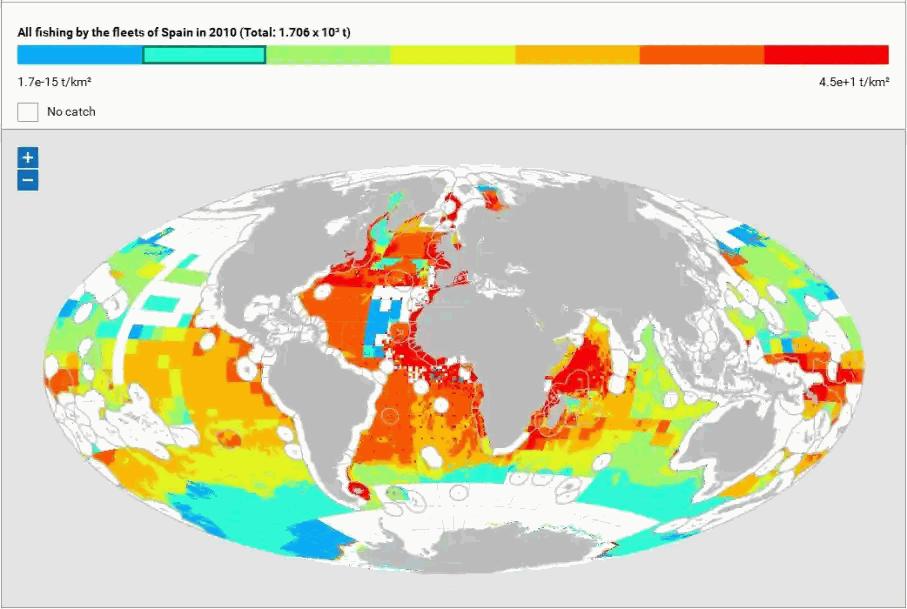 Fischgründe der spanischen Flotte 2010 ~ die Ozeane hier bunt, je röter, desto mehr Fisch wird gefangen. Land grau. Vor der afrikanischen Küste fehlt der weiße Rand der 200-Meilen-Zone!